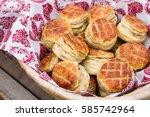 homemade scones on the basket...   Shutterstock . vector #585742964
