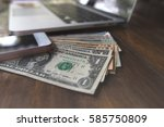 mobile phone and us dollar with ... | Shutterstock . vector #585750809