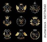 old turnkey keys emblems set.... | Shutterstock .eps vector #585756560