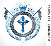 heraldic coat of arms  vintage... | Shutterstock .eps vector #585760988
