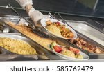 Stock photo full lunch service station 585762479