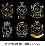 set of vector retro vintage...   Shutterstock .eps vector #585767723