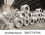 3d rendering roll of steel... | Shutterstock . vector #585774704
