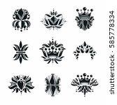 royal symbols  flowers  floral... | Shutterstock .eps vector #585778334