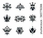 royal symbols  flowers  floral... | Shutterstock .eps vector #585778388