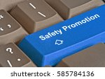 keyboard with key for safety... | Shutterstock . vector #585784136