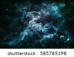 blue nebula and cosmic dust in... | Shutterstock . vector #585785198