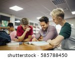 students are engaging with... | Shutterstock . vector #585788450