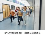 teen students are running down... | Shutterstock . vector #585788558