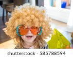 funny portrait of three years... | Shutterstock . vector #585788594