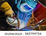 welder industrial automotive... | Shutterstock . vector #585799754