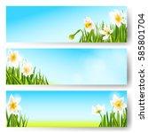 vector spring background ... | Shutterstock .eps vector #585801704