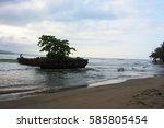 boat beach playa negra costa... | Shutterstock . vector #585805454