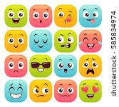 sixteen emoticons set. colorful ... | Shutterstock .eps vector #585834974