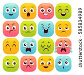 sixteen emoticons set. colorful ... | Shutterstock .eps vector #585834989