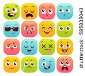 sixteen emoticons set. colorful ... | Shutterstock .eps vector #585835043