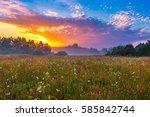 vibrant summer sunrise over... | Shutterstock . vector #585842744