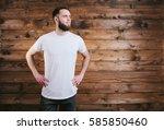 man wearing white blank t shirt ... | Shutterstock . vector #585850460