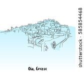oia  greece greeting card... | Shutterstock .eps vector #585854468