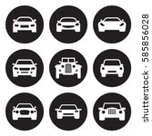 car icons set. white on a black ... | Shutterstock .eps vector #585856028