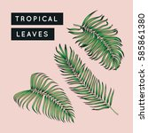 tropical leaves set. jungle... | Shutterstock . vector #585861380