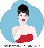 portrait of beautiful brunette... | Shutterstock .eps vector #585872510