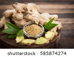 ginger root and ginger powder... | Shutterstock . vector #585874274