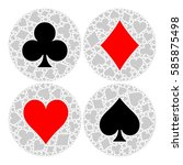 mosaic circle of poker playing... | Shutterstock .eps vector #585875498