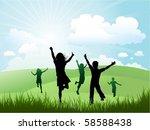 children playing outdoors | Shutterstock .eps vector #58588438