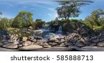 Small photo of Full 360 degrees panorama in equirectangular equidistant spherical projection of Beautiful waterfall in Belarus