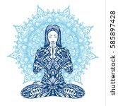 concept of meditation. woman... | Shutterstock .eps vector #585897428