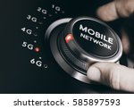 man turning the mobile network... | Shutterstock . vector #585897593