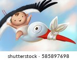 illustration with baby riding ... | Shutterstock . vector #585897698