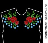 embroidery stitches with roses  ... | Shutterstock .eps vector #585898670