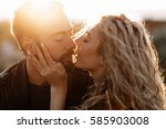 portrait of a man and girl... | Shutterstock . vector #585903008