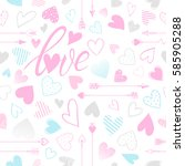 seamless pattern with hearts ... | Shutterstock .eps vector #585905288