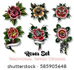 vector traditional tattoo roses ... | Shutterstock .eps vector #585905648