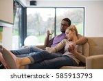 young romantic multiethnic... | Shutterstock . vector #585913793