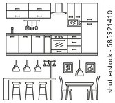 kitchen modern furniture icons. ... | Shutterstock .eps vector #585921410
