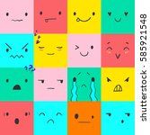 heart emoticons with different... | Shutterstock .eps vector #585921548