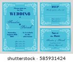 set of wedding cards in retro... | Shutterstock .eps vector #585931424