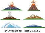 cartoon volcano eruption set | Shutterstock . vector #585932159