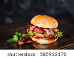 burger with bacon  meat  tomato ... | Shutterstock . vector #585933170