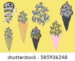 sweet summer hand drawn... | Shutterstock .eps vector #585936248