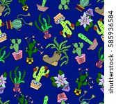 seamless pattern of cactus. | Shutterstock .eps vector #585936584