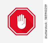 hand stop sign with long shadow.... | Shutterstock .eps vector #585943259