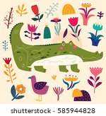 beautiful illustration with... | Shutterstock .eps vector #585944828