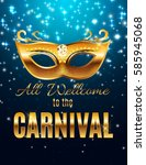 carnival party mask holiday... | Shutterstock .eps vector #585945068