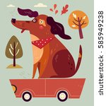 cartoon illustration with funny ... | Shutterstock .eps vector #585949238