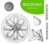 brazilian snacks top view... | Shutterstock .eps vector #585955070